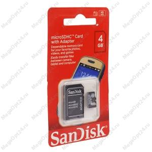 Карта памяти SanDisk microSDHC 4GB оптом