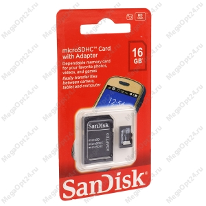 Карта памяти SanDisk microSDHC 16 GB оптом