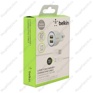 Автомобильное зарядное устройство Belkin 2.1amp + кабель 30-pin to USB 1.2 метра белый
