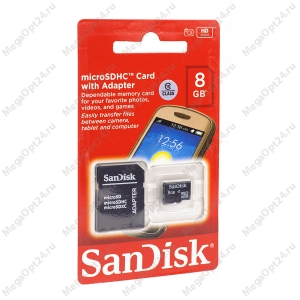 Карта памяти SanDisk TransFlash MicroSDHC class 10 8GB оптом