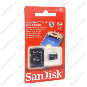 Карта памяти SanDisk TransFlash MicroSDHC class 10 64GB оптом
