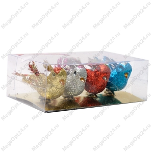 Комплект новогодних украшений на прищепке Птички 4 шт.