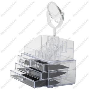 Акриловый органайзер для косметики с зеркалом