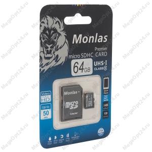 Карта памяти Monlas 64 Gb microSDHC clas10 с адаптером
