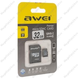 Карта памяти Awei 32 Gb microSDHC clas10 с адаптером
