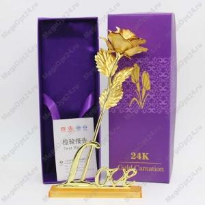 Золотая роза с держателем