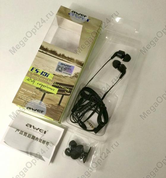 Вакуумные стерео наушники Awei ES-13i оптом
