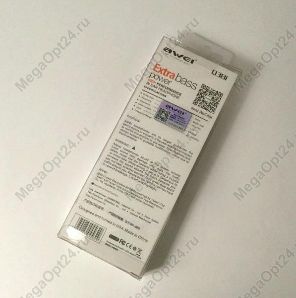 Вакуумные стерео наушники Awei Q38i оптом