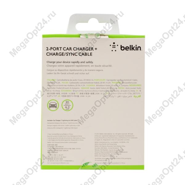 Автомобильное зарядное устройство Belkin 2.1amp + USB to micro 1.2 м. черный оптом.