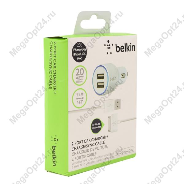 Автомобильное зарядное устройство Belkin 2.1amp + кабель 30-pin to USB 1.2 метра оптом