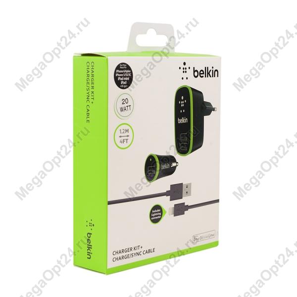 Зарядный комплект Belkin Micro Charger Kit (220 В +12 В + Lightning cable, USB, 2.1 A) оптом