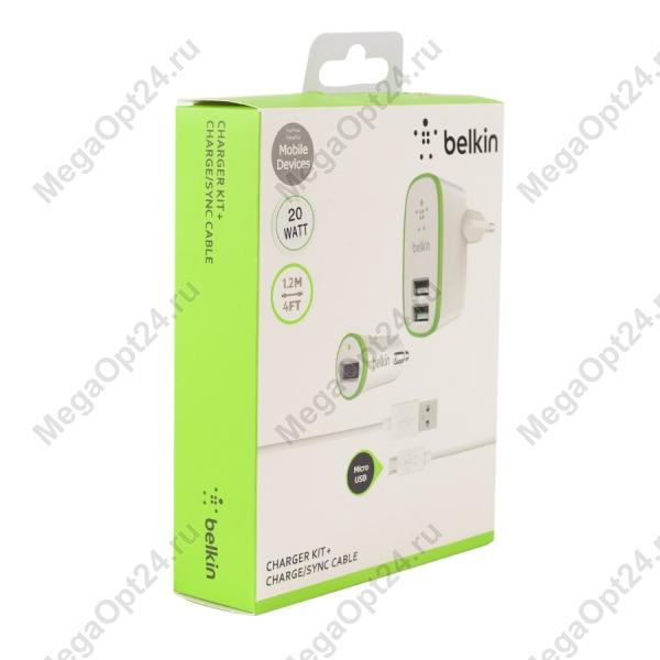 Зарядный комплект Belkin Micro Charger Kit (220 В +12 В + cable micro USB, 2.1 A) оптом