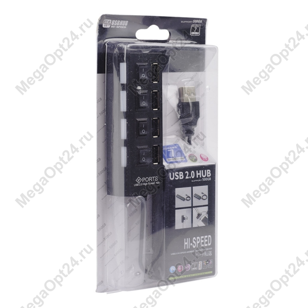КонцентраторHigh-speed 4 Ports Expanded USB 2.0 Hub with On/Off оптом