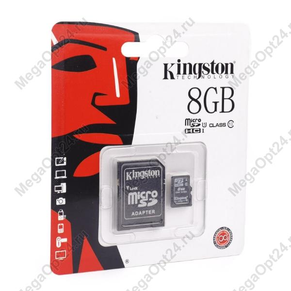 Карта памяти Kingston microSDHC/microSDXC Class 10 HS-I 8GB оптом