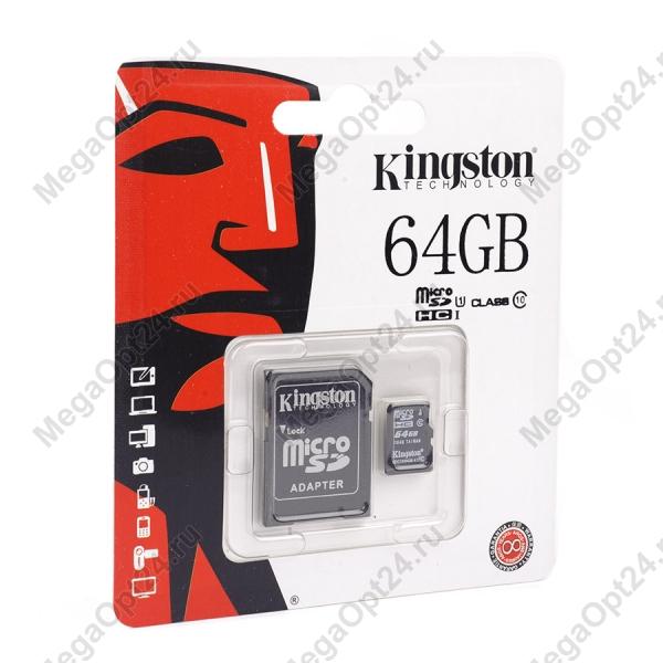 Карта памяти Kingston microSDHC/microSDXC Class 10 HS-I 64GB оптом