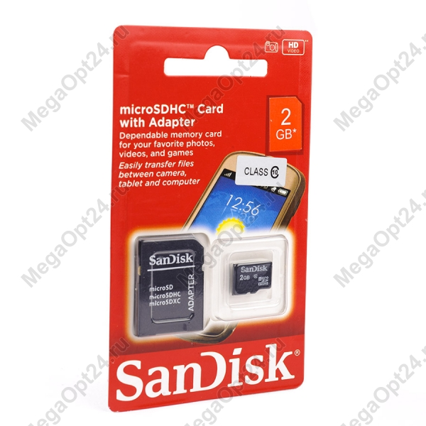 Карта памяти SanDisk TransFlash MicroSDHC class 10 2GB оптом