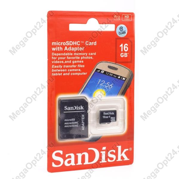 Карта памяти SanDisk TransFlash MicroSDHC class 10 16GB оптом
