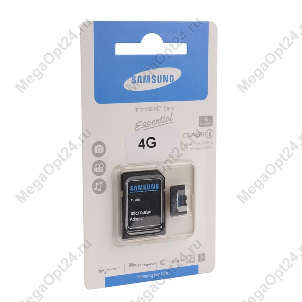 Карта памяти MicroSDHC Essential class 10 4GB оптом