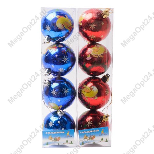 Комплект ёлочных шаров Курочка на шарике 4 шт. оптом