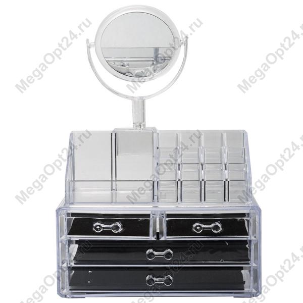 Акриловый органайзер для косметики с зеркалом оптом