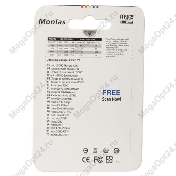 Карта памяти Monlas 4 Gb microSDHC clas10 с адаптером