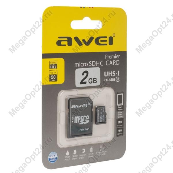 Карта памяти Awei 2 Gb microSDHC clas10 с адаптером