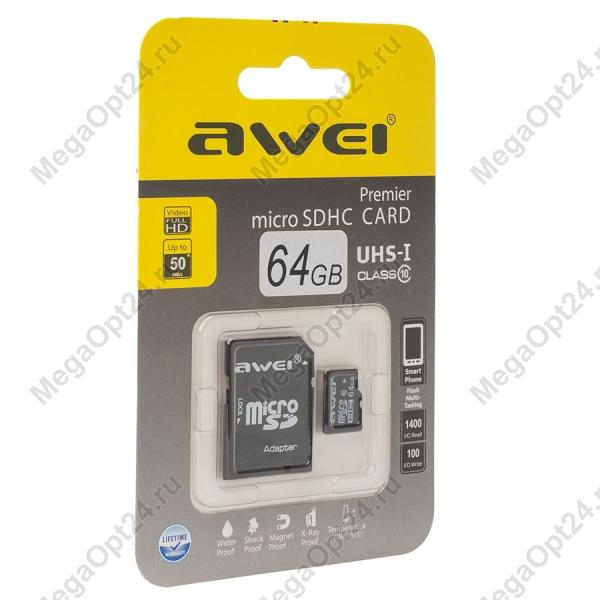 Карта памяти Awei 64 Gb microSDHC clas10 с адаптером