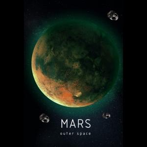 Люми-Зуми / Светящаяся картина Outer Space Космическое пространство Марс/Картина для интерьера