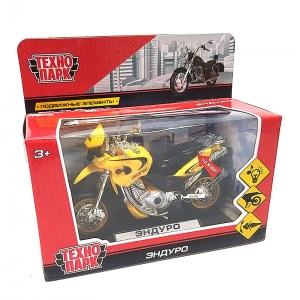 ZY086081-R желт Мотоцикл Эндуро 14см, (свет+звук) пластик, выдвиж. поднож., вращ. руль.