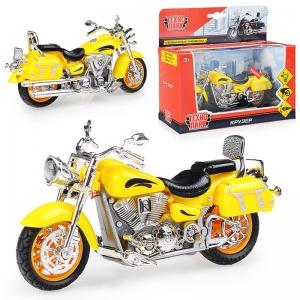 ZY086080-R жел Мотоцикл Крузер 14,5см, (выдвиж.поднож., вращ. руль,свет+звук) в коробке