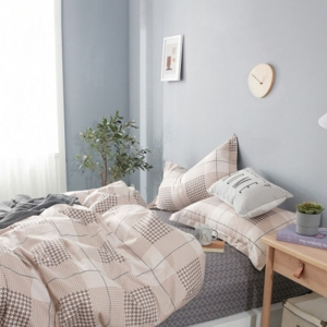 Т2-336 беж (2-х евро) КПБ 2-х-спальный, европростыня, сатин