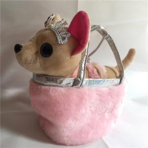 Поющая музыкальная собачка на поводке в сумке