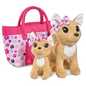 Поющая собачка на поводке с щенком в сумке