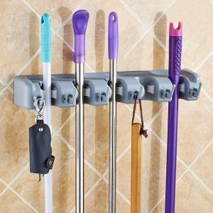 Настенный держатель швабр, мётел, садовых инструментов на 5 позиций и 6 крючков оптом