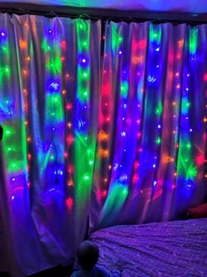 Гирлянда штора (Занавес за окно) 1.8 на 1.8 м. Разноцветная