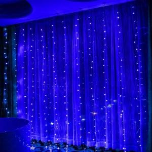 Гирлянда штора (Занавес за окно) 1.8 на 1.8 м. Синяя
