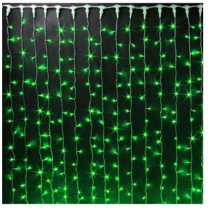 Гирлянда Штора (Занавес за окно) 3.0 на 2.0 м. Зеленая