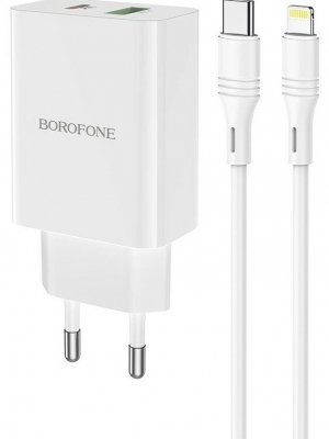 СЗУ Type-C to Lightning 1 USB выход QC3.0 PD 20W (5V-3.0A/9V-2.0A/12V-1.5A) BOROFONE BA56A (белый)