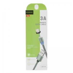 USB кабель для iPhone 5/6/6Plus/7/7Plus 8 pin 1.0м MAIMI X30 магнитный (графит) 3A