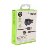 Автомобильное зарядное устройство Belkin 2.1amp + USB to micro 1.2 м. черный .
