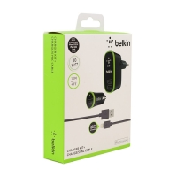 Зарядный комплект Belkin Micro Charger Kit (220 В +12 В + Lightning cable, USB, 2.1 A) оптом