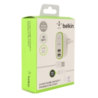 Сетевое зарядное устройство Belkin Home Charger 2 USB + кабель micro USB оптом