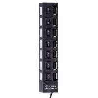 КонцентраторHigh-speed 7 Ports Expanded USB 2.0 Hub with On/Off оптом.