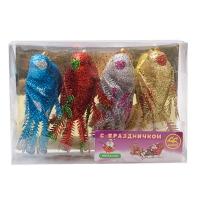Комплект новогодних украшений на прищепке Птички 4 шт. оптом
