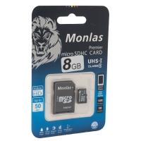 Карта памяти Monlas 8 Gb microSDHC clas10 с адаптером