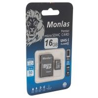 Карта памяти Monlas 16 Gb microSDHC clas10 с адаптером