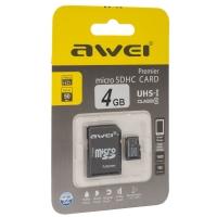 Карта памяти Awei 4 Gb microSDHC clas10 с адаптером