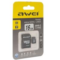 Карта памяти Awei 16 Gb microSDHC clas10 с адаптером