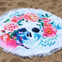 Круглое пляжное покрывало с принтом