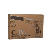 Игрушечный металлический пневматический пистолет Airsoft GunС 19
